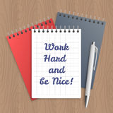 Text: work hard and be nice Royalty Free Stock Image
