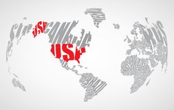 Text world map Stock Photography