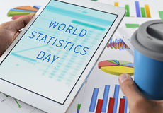 Text world statistics day in a tablet Stock Image