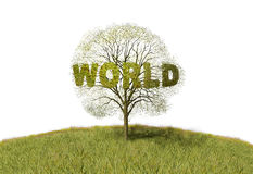 Text world tree Stock Photography