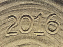 2016 text write on the sand Royalty Free Stock Image