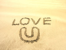 Text writing on sand beach Royalty Free Stock Photos