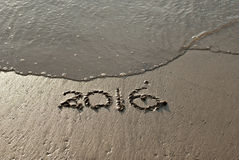 2016 text written on sand Royalty Free Stock Images