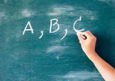 Text written by white chalk on the blackboard background Stock Photo