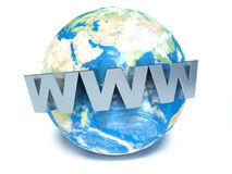 Text WWW auf Erde 3d Lizenzfreie Stockfotografie