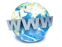 Text WWW på jord 3d Royaltyfri Fotografi