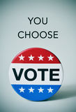 Text you choose and badge for the US election. Text you choose and a badge with the word vote written in it, for the United States election, with a slight Stock Photo