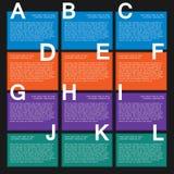 Textask för tolv colorfull med moment för infographics vektor illustrationer
