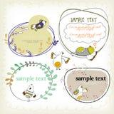Textask med fåglar vektor illustrationer