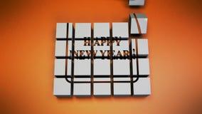 Textbaner för lyckligt nytt år stock video