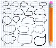 Textbirnen auf Notizbuchpapier Vektor Satz Rahmen mit realistischem Bleistift Stockfoto