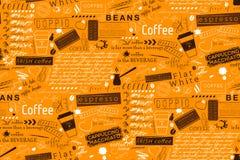 Textbokstäver av kaffe- och kaféuttrycksbakgrund Sömlös vec royaltyfri illustrationer