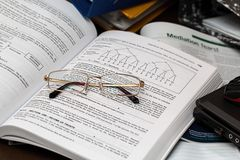 Textbook and eyeglasses