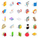 Textbook icons set, isometric style. Textbook icons set. Isometric set of 25 textbook vector icons for web isolated on white background Royalty Free Stock Photography
