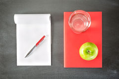Textbook an a Notebook. An open notebook with blank pages next to a red book or textbook, photographed from above Stock Photography
