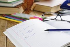 The textbook with pen Stock Photos