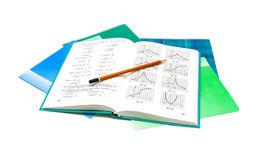 Textbook, pencil and notebook on white background. Textbook, pencil and notebook isolated on white background Royalty Free Stock Photography