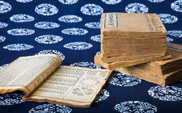 Textbook of Traditional Chinese Medicine. A pile of textbooks of traditional chinese medicine, published in Qing Dynasty Stock Photo