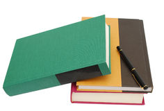 Textbooks. A looking at textbooks in classroom Royalty Free Stock Photo