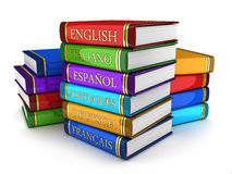 Textbooks. European language textbooks (done in 3d Stock Illustration