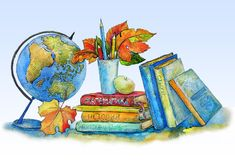 Textbooks, the globe, pencils, autumn leaves on a table. An illustration of preparation for school, by a holiday on September 1 Stock Illustration