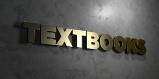 Textbooks - Gold sign mounted on glossy marble wall  - 3D rendered royalty free stock illustration Royalty Free Stock Images