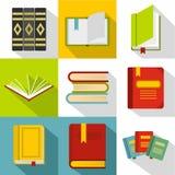 Textbooks icons set, flat style Stock Image