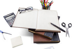Textbooks and stationery set on white background Stock Photography