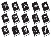 Textbooks Vector Icon Set. Black and white vector icons of textbooks on different subjects Royalty Free Illustration