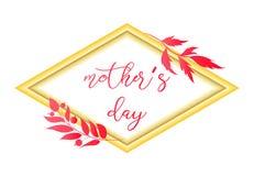 Textdesign der Mutter s Tagesin der realistischen Rahmenart für glückliche Tagesfeier der Mutter-s Vektorillustration für den Gru Stockbilder