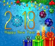 Textdesign des guten Rutsch ins Neue Jahr 2018 auf einem blauen Hintergrund Vector Grußillustration mit goldenen Zahlen und Schne Stockbild