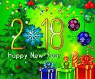 Textdesign des guten Rutsch ins Neue Jahr 2018 auf einem grünen Hintergrund Vector Grußillustration mit goldenen Zahlen und Schne Lizenzfreie Stockbilder