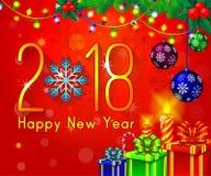 Textdesign des guten Rutsch ins Neue Jahr 2018 auf einem roten Hintergrund Vector Grußillustration mit goldenen Zahlen und Schnee Lizenzfreie Stockbilder