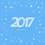 Textdesign des guten Rutsch ins Neue Jahr 2017 Blauer Hintergrund mit Schnee Lizenzfreie Stockfotografie