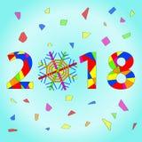 Textdesign des guten Rutsch ins Neue Jahr 2018 Vektor 2018 guten Rutsch ins Neue Jahr- und Weihnachtselemente Lizenzfreie Stockfotos