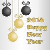 Textdesign des guten Rutsch ins Neue Jahr 2018 Vektor 2018 guten Rutsch ins Neue Jahr- und Weihnachtselemente Stockfoto