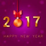 Textdesign des guten Rutsch ins Neue Jahr 2017 Vektorgrußillustration mit Weihnachtsbällen beugen und Sterne Lizenzfreie Stockbilder