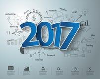 Textdesign des Vektortagaufklebers 2017 auf Zeichnungsgeschäftserfolg stock abbildung