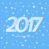 Textdesign för lyckligt nytt år 2017 Blåttbakgrund med snow royaltyfri illustrationer