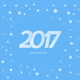 Textdesign för lyckligt nytt år 2017 Blåttbakgrund med snow Royaltyfri Fotografi