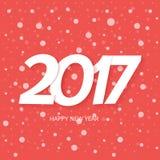 Textdesign för lyckligt nytt år 2017 Röd bakgrund med snö Royaltyfri Foto