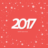 Textdesign för lyckligt nytt år 2017 Röd bakgrund med snö Arkivfoto
