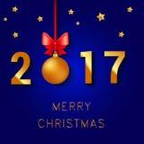 Textdesign för lyckligt nytt år 2017 Vektorhälsningillustrationen med julbollar bugar och stjärnor Arkivfoto