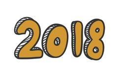 Textdesign för nytt år 2018 Handbokstäverdesign Arkivbilder