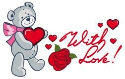 Texte écrit artistique avec amour ! et ours de nounours mignon tenant r Image stock