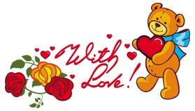 Texte écrit artistique avec amour ! et ours de nounours mignon tenant r Images libres de droits