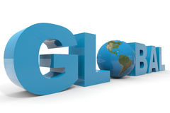 Texte 3d GLOBAL. Globe de la terre substituant la lettre O. illustration libre de droits
