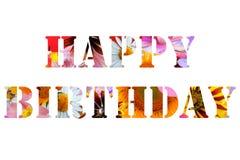 Texte abstrait de joyeux anniversaire des fleurs colorées Images stock