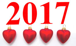 Texte 2017 avec la décoration d'arbre de Noël Images libres de droits