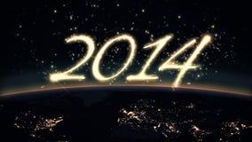 texte 2014 avec la terre Photographie stock